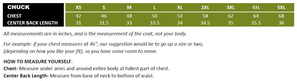 Chuck Size Chart